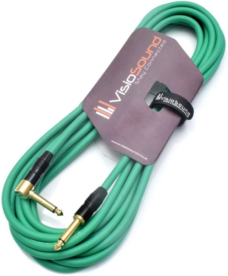 Premium Guitar Bass Lead 6.35mm 1//4 Angled Jack//Pro Noiseless Instrument Cable Blue, 3m