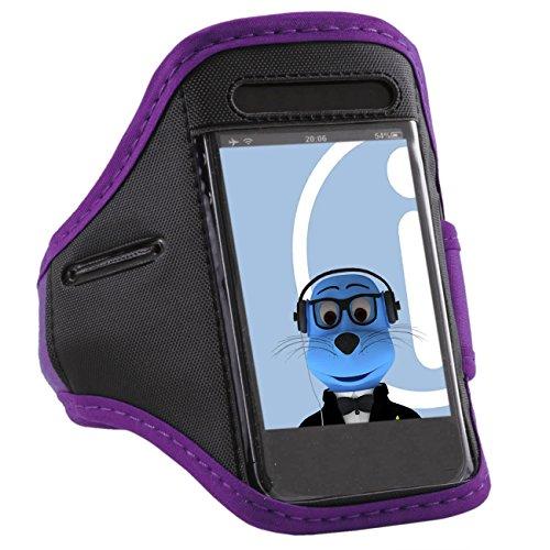 iTALKonline Generic Universal Purple Black Adjustable Water / Moisture Resistant Sports GYM Jogging Running ArmBand Arm Band Case Cover with Key Money Headphone Pocket