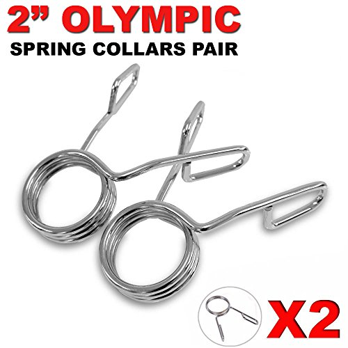 """FITNESS MANIAC Barbell Spring Clip Collars Clamps Sturdy Fit for Olympic 2"""" Barbells Heavy Duty Spring Clip 2'' Dumbbell Collars Gym Bar Clips Bar Clamps Bar Clips Gym Weight Dumbbell Lock by FITNESS MANIAC"""