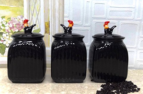 TUSCANY BLACK ROOSTER W/DOTS, 3 Piece Canister Set, 83702 BY ACK (Black And White Rooster Decor)