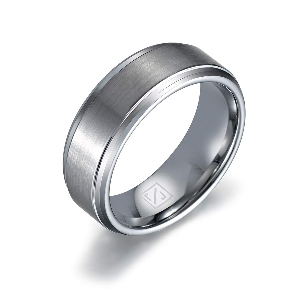 Luxffield 8mm Men's Tungsten Carbide Ring Basic Polished Beveled Edge Matte Brushed Finish Center Wedding Band Fort Fit 7513 Amazon: Beveled Edge Matte Wedding Ring At Reisefeber.org