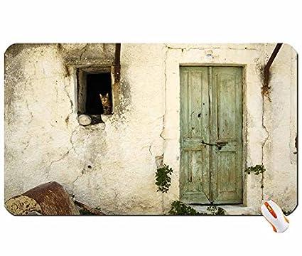 Arquitectura gatos Viejas casas puerta ventana paneles gran alfombrilla de ratón Dimensiones: 60 x 35