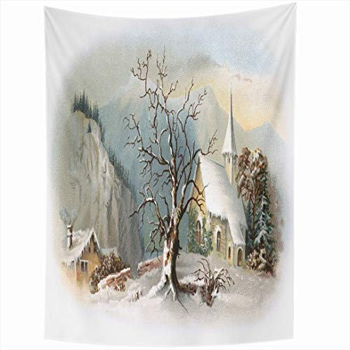 Ahawoso Tapestry 60x90 Inch Vignetted Winter Snowy Chapel Scene Early Vintage Historic Christmas Ives Currier Antique Church Old Wall Hanging Home Decor for Living Room Bedroom Dorm