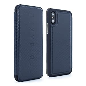 Official Ted Baker BHAIT Card Slot Folio Case for iPhone X , Premium Cover for Apple iPhone X - Navy
