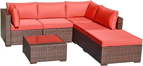 OC Orange-Casul 6-Piece Outdoor Patio Sectional Sofa Set Brown Wicker Furniture Set