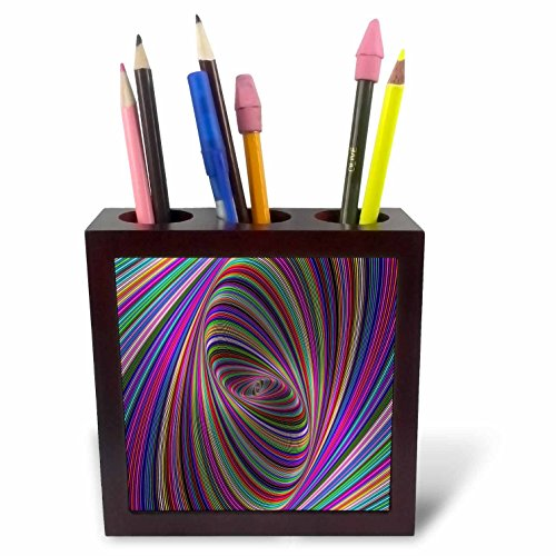 3dRose David Zydd - Colorful Abstract Designs - Psychedelic Colors - Computer Generated Color Ellipse Design - 5 inch Tile Pen Holder (ph_284088_1) ()
