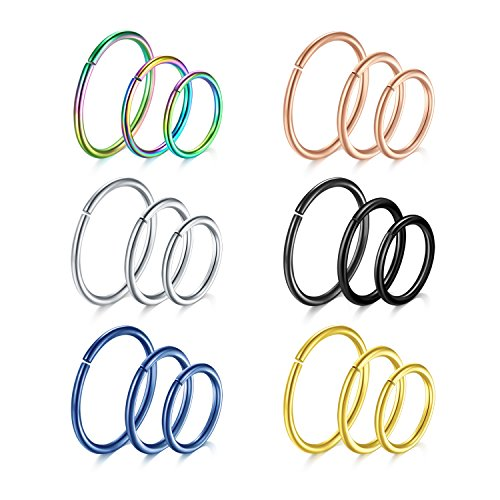 vcmart 18pcs 18G 316L Stainless Steel Seamless Septum Nose Rings Hoop Ear Cartilage Piercing Jewelry