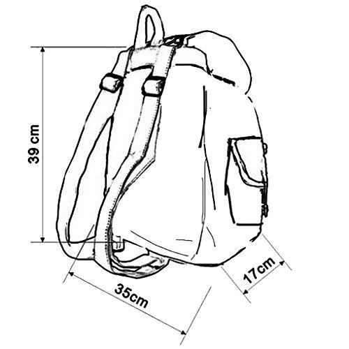 Herren Damen Fashion Vintage Casual Vintage Canvas Taschen Reisetaschen Schultaschen Rucksack Wanderrucksack-Schwalbe Muster-Schwarz