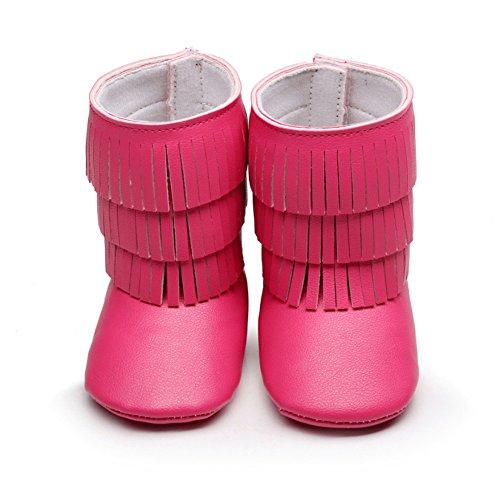 Frog Tassels 24 18 Rose Autumn amp; Puschen Krabbelschuhe Baby Leap Rot Boots Größe Mädchen Monate EFdHEOx