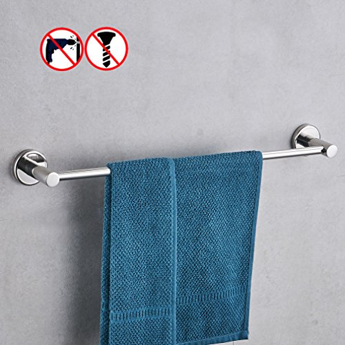 BESy No Drill Bathroom 24-Inch Towel Bars Towel Shelf Drill Free Stainless Steel,Polished,Wall Mount Instantly on All Smooth or Textured Surfaces Without Tools