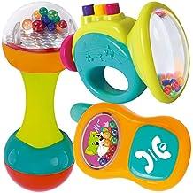 Juego de tres Sonajas musicales, Trompeta y telefono infantil con colores y sonidos para bebes e Infantes–Juguetes interactivos y educativos para el aprendizaje de tus hijos.