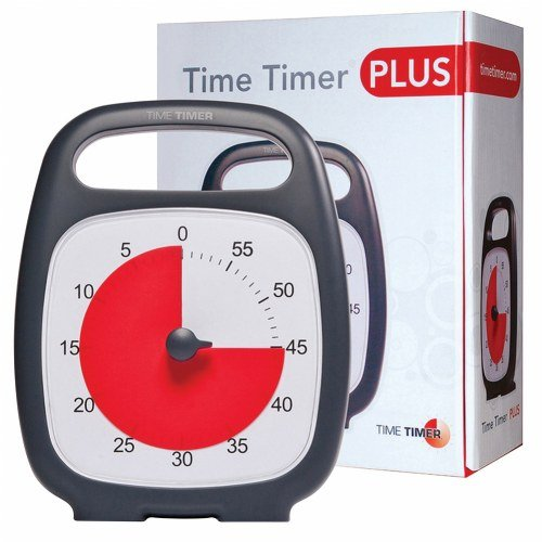 Time Timer PLUS 60 Minute Visual Analog Timer (Charcoal); Optional Alert (Volume-Control Dial); Silent Operation (No Ticking); Time Management Tool -