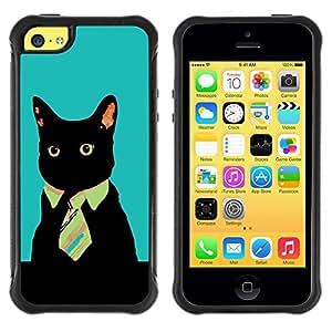 LASTONE PHONE CASE / Suave Silicona Caso Carcasa de Caucho Funda para Apple Iphone 5C / Office Business Kitty Cat