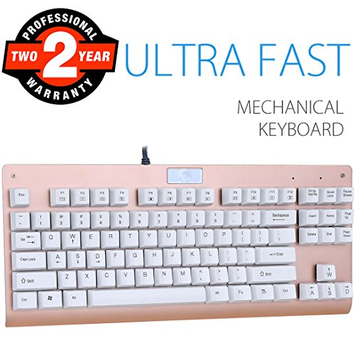 Mechanical Gaming Keyboard, Aitalk 87 Keys Anti-ghosting Waterproof Tenkeyless Keyboard with Blue Switches Easy Access Media Keys Wired Keyboard for Mac PC Gamers and Typists (Gold) by Aitalk
