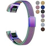 "Oitom For Fitbit Alta HR Accessory Bands and For Fitbit alta Metal replacement Band, Small 5.1""-6.7""(Small 5.1""-6.7"" Rainbow)"