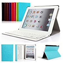Symbollife iPad 2/3/4 Apple Bluetooth Ipad Keyboard Ultra Slim Pu Leather Folio Smart Case Stand Cover,Removable Wireless Bluetooth Keyboard with Retina Display Blue