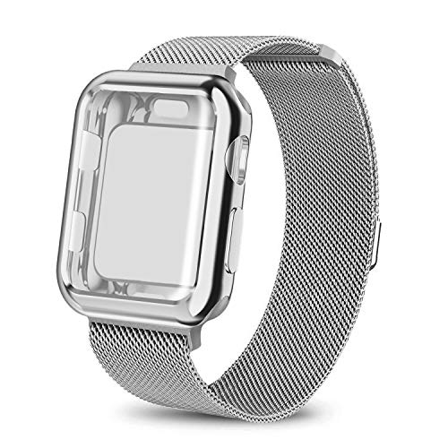 AdMaster Compatible for Apple Watch Band 42mm, Stainless Steel Mesh Milanese Sport Wristband Loop with Apple Watch Screen Protector Compatible for iWatch Series 1/2/3 Silver