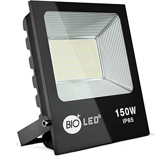 Bioled 150W Projecteur LED Extérieur,Blanc Froid 6400K, Super Brillant 15000lm, IP65 Imperméable Spot LED Exterieur économiseur d'énergie, Éclairage de Sécurité Extérieur, Sans Détecteur