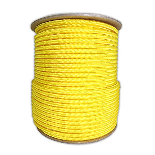 SGT KNOTS Braided Polyester Rope (1/4 in - 6mm) Braid on Braid Stiff Halter Cord - DIY Horse Halter - Low Stretch Cord for Arborist/Tree Rigging, Hiking, Crafting (50 ft - Coil, Yellow)