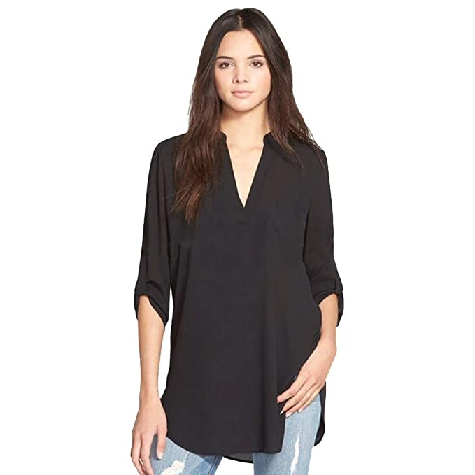 2b1e2b8ee9 Hmlai Women Fashion Chiffon Solid Stand Collar Long Sleeve Strap Shirt  Casual Loose Blouse
