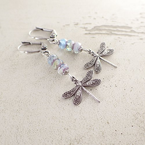 Dragonfly Lever Back Earrings with Pastel Colored Czech Glass in Antiqued Silver Plated Brass (Brass Ox Plated)