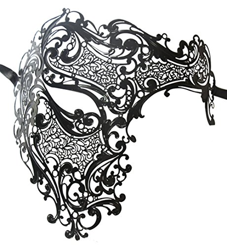 Luxury Mask Men's Signature Phantom Of The Opera Half Face Metal Mask by Luxury Mask