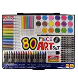 80 Piece Children's Art Set & Gift Case Paints Crayons Pastels Pens Grafix