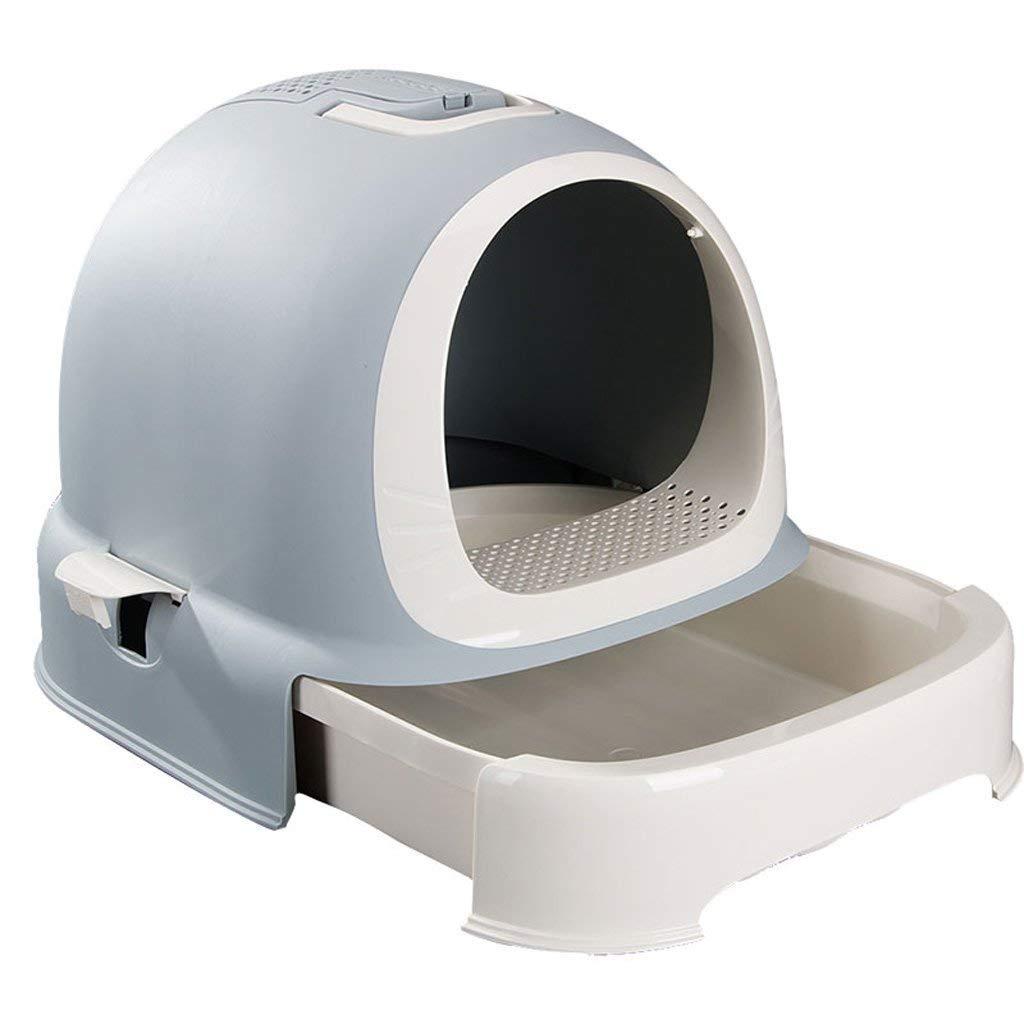 CHONGWFS Drawer Type Trash Can Cat Toilet Green Plastic Portable Cat Sand Basin Cat Toilet Anti-Splashing Cat Pot Pet Supplies