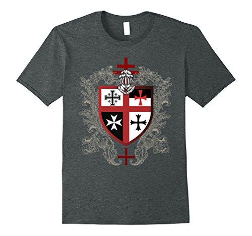 Mens Templar T-Shirt Knights Cross Emblem Coat of Arms Small Dark Heather (Coat Of Arms Dark T-shirt)