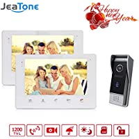 Jeatone 7 Inch Dual Intercom Picture/Video Record 1200TVL Doorbell Intercom Access Control System Video Door Phone Wire Touch Screen Home Security Day/Night Vision SD Card Support(Not included) …