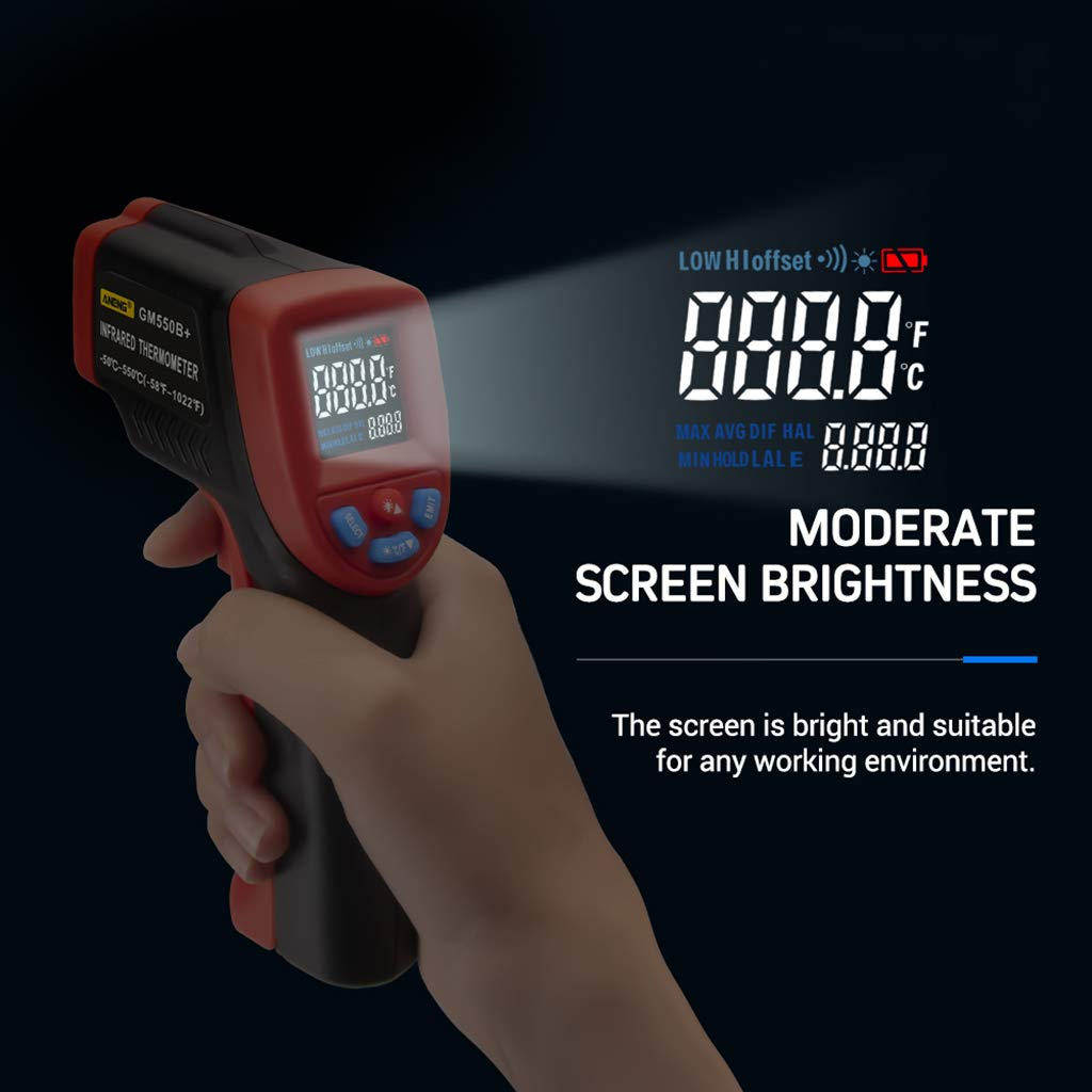 Yintiod Pistola de medici/ón de temperatura sin contacto para term/ómetro digital de infrarrojos de tipo L a S -50~550 /°C