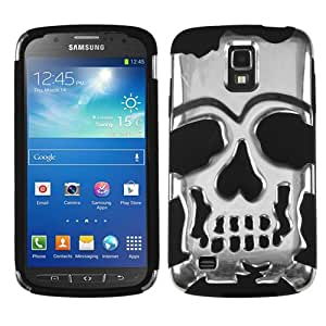 CY Hybird Skullcap Design Armor Cover Case For Samsung Galaxy S4 Active i537 i9295 (Include a Free CYstore Stylus Pen) - Silver/Black