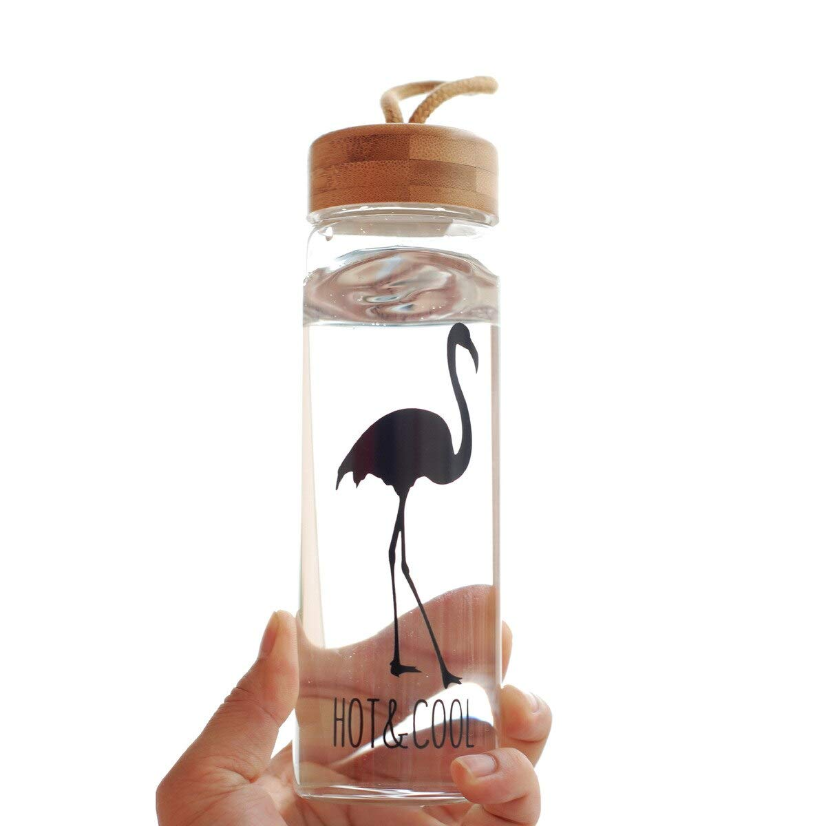 450 Ml Gl Water Bottles with Bamboo Lid Rope Straight Drink Hiking Creative My Bottle Drinkware Clear Brief Portable
