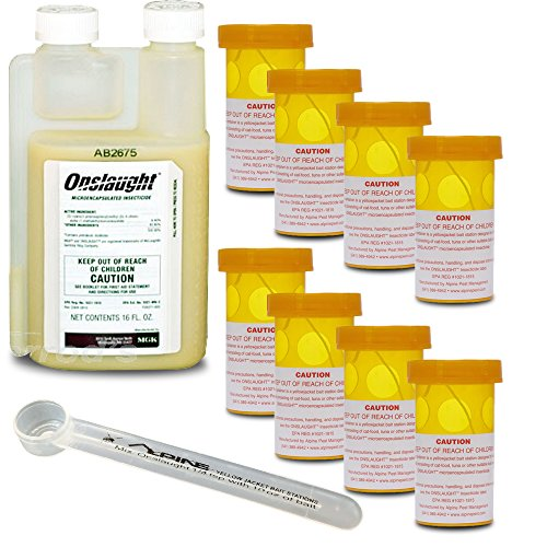 Alpine Yellow Jacket Bait Station Kit (8 Stations) with Onslaught Insecticide(16 oz) (Alpine Meats)