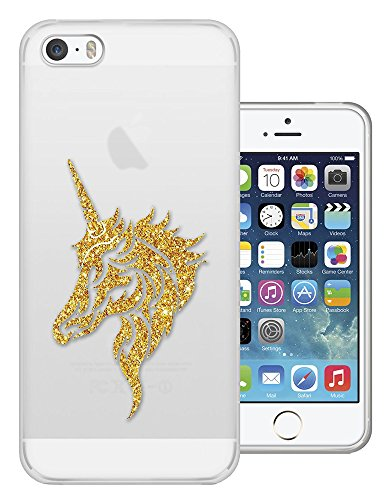 c01470 - Glitter Unicorn Head Girly Design iphone 4 4S Fashion Trend CASE Gel Rubber Silicone All Edges Protection Case Cover