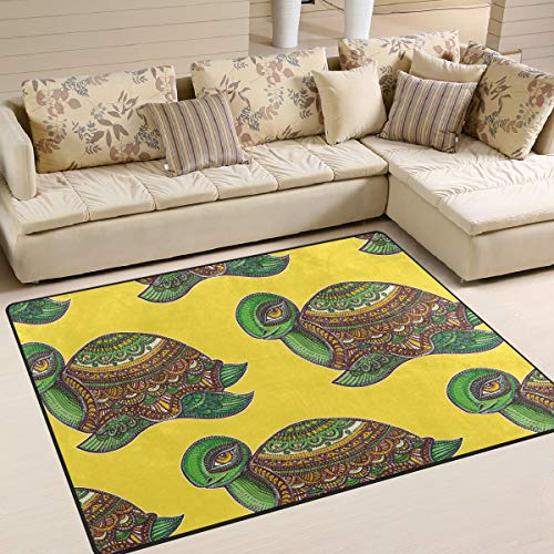 Boho Sea Turtle Tortoise Yellow Area Rug 7' x 5' Carpet Indoor Polyester Non Slip Multi Rectangle Door Mats Kitchen Floor Runner Decoration for Home Bedroom Living Dining Room