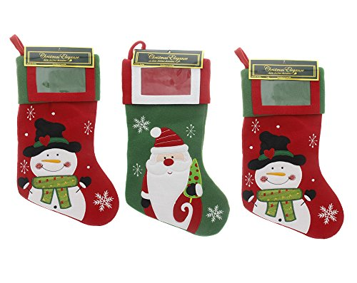 Festive Christmas Holiday Classic Traditional Colorful Plush Stockings with Picture Frame Holder, Featuring Santa & Snowman, Red, Green, White, Multicolor, Large, 3 Pack Assorted, 18