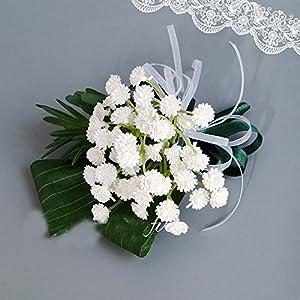 Better-way 5pcs Wedding Flower Bride Bridal Bouquet Brooch Corsage Bridesmaid Valentine's Day Boutonniere Bridal Shower Prom Decor 112