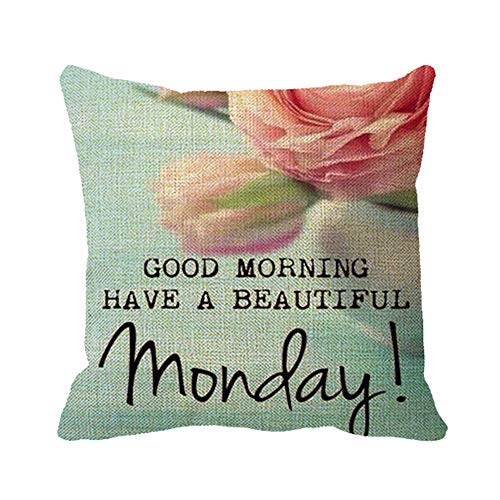 Monday Good Morning Quotes Decorative Cotton Linen Pillowcase Square Throw Pillow Sham Cushion Cover 16 x 16