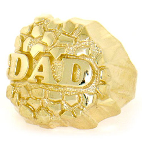 14k Solid Yellow Gold Nugget Dad Mens Ring (Yellow Gold Nugget Ring)