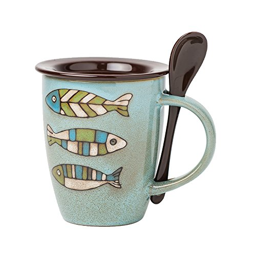 Verdental Novelty Sea Fun Mugs Ceramic Coffee Mug with Lid and Spoon Tea Cup Mug Gift Box (Fish, Blue)