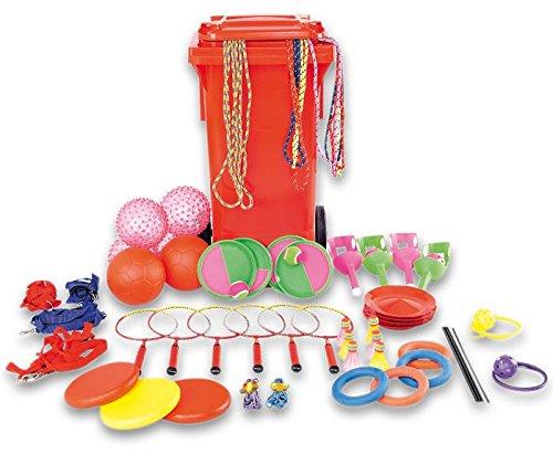 Spiel- und Pausentonne, großes Spielset, Spiele für 80 Kinder enthalten, inkl. Fahrbarer Tonne, mit Springseilen, Fußbällen, Schleuderbällen, Jonglierteller u.v.m.