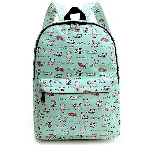 Ulike Lightweight Canvas Cute Pattern Kids School Backpack (Green cat) [並行輸入品]   B078WX5VLR