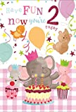 Age 2 Girl Birthday Card - Party Animals, Big Cupcakes & Balloons 7.75' x 5.25'