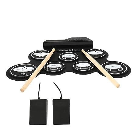 Dightyoho Batería Electrónica Portatil, Instrumento Musical Infantil, Tambor Electrónico Plegable de Silicona para Niños Bebe Adulto: Amazon.es: ...