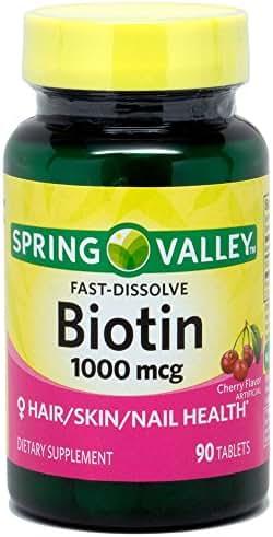 Spring Valley Biotin 1000 Mcg Cherry Flavor for Skin, Hair & Nail, 90 tablets