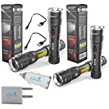 2x Nebo Slyde King 6434 Rechargeable LED Flashlight Work Light Adjustable Zoom Bundle with Lumintrail USB Plug Adapters