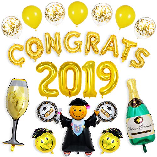 Gold Congrats Balloons Pack 40 inch 2019 Nubmer Balloons Jumbo Grad Helium Balloons Champagne Bottle and Goblet Balloons with Gold Confetti Balloons for Graduaion Party Decorations and Supplies -
