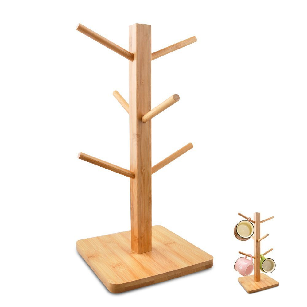 Bamboo Mug Rack Tree, HomRing Removable Bamboo Mug Stand, Hold and Dry Storage Coffee Tea Cup Organizer Hanger Holder with 6 Hooks (Bamboo)