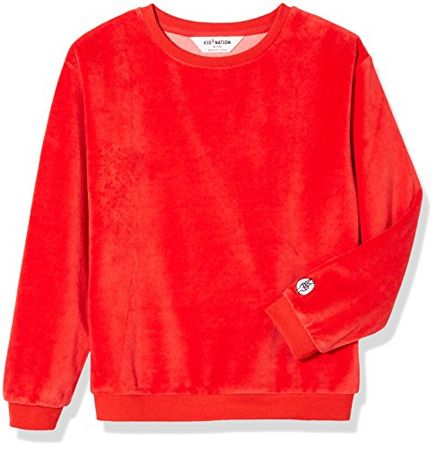 (Kid Nation Kid's Cozy Velour Pullover Sweatshirt for Boys and Girls S Red)